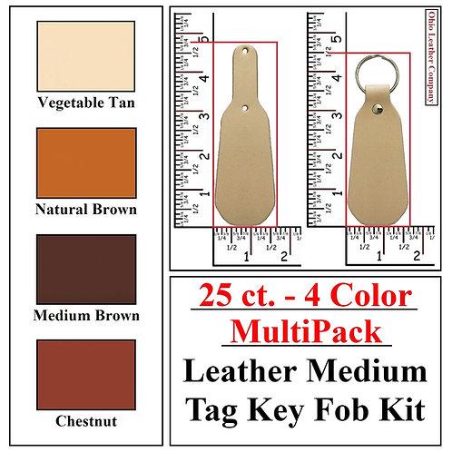 25 ct. - 4 Color - MultiPack - Leather Medium Tag Key Fob Kit