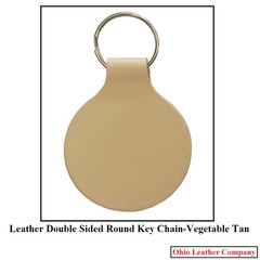 Leather Double Sided Round Keychain  - OhioLeatherCompany.com