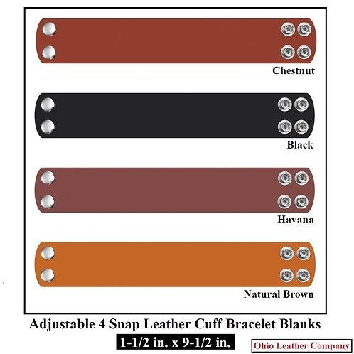 1-1/2  in. x 9-1/2 in. Adjustable Wide Leather Cuff Bracelet Blank 4 Snaps