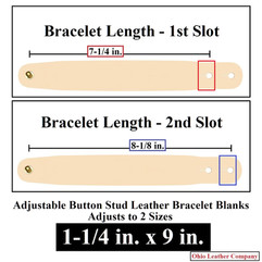 Adjustable Buttton Stud Leather Bracelet Blanks - 1-1/4 in. x 9 in. - Adjusts to 2 Sizes - OhioLeatherCompany.com