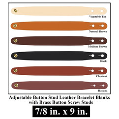 Adjustable Buttton Stud Leather Bracelet Blanks - 7/8 in. x 9 in. - OhioLeatherCompany.com -3