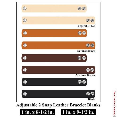 4 Color - MultiPack - 1 in. Adjustable Leather Bracelet Blank 2 Snaps