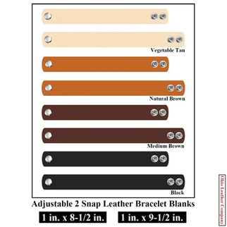 1 in. x 8.5 in - 1 in. x 9.5 in. - Adjustable 2 Snap Leather Bracelet Blanks - OhioLeathercompany.com