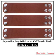 2 in. x 9-1/2 in. - Adjustable 4 Snap Leather Bracelet Blanks - Adjusts to 2 Sizes  - OhioLeatherCompany.com-1