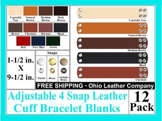 Bracelet Blanks - Adjustable 4 Snap Leat