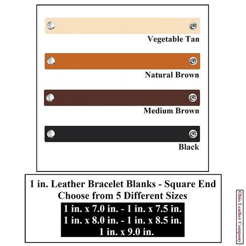 4 Color - MultiPack - 1 in. Leather Bracelet Blank Square End