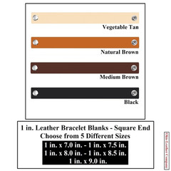 1 in. Leather Bracelet Blanks - Square End - OhioLeatherCompany.com -1