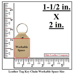 Leather Tag Keychain Workable Space Size - OhioLeatherCompany.com