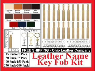 Leather Name Key Fob Kit Leather Round Key Fob Kit - Ohio Leather Company.com