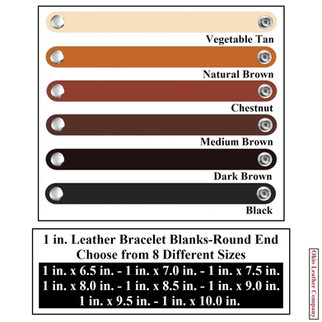 1 in. Leather Bracelet Blanks Round End - 6 Color MultiPack - OhioLeatherCompany.com