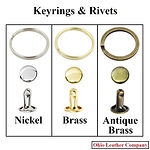 Accessory Selection - Keyrings & Rivets - 3 Finishes Available - Nickel - Brass - Antique Brass - Ohio Leather CompanyAccessory Selection - Keyrings & Rivets for Ohio Leather Company