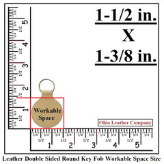 Leather Double Sided Round  Keychain Work Space Size - OhioLeatherCompany.com