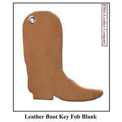Leather Boot Key Fob Blank - Leather Boot Shaped Key Fob Blank - OhioLeatherCompany.com