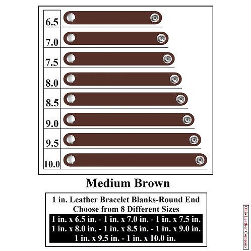 1 in. Leather Bracelet Blank Round End 1 Snap MEDIUM BROWN
