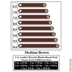 1 in. Leather Bracelet Blanks - Round End - Medium Brown - OhioLeatherCompany.com