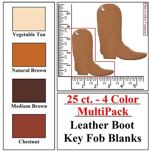 25 ct. - 4 Color - MultiPack - Leather Boot Key Fob Blank