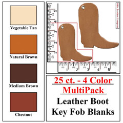 25 ct.- 4 Color MultiPack Leather Boot Shaped Key Fob Blank - OhioLeatherCompany