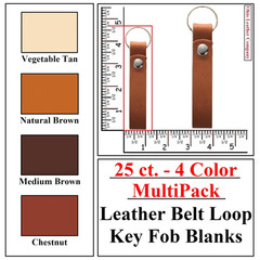 25 ct.- 4 Color MultiPack Leather Belt Loop Key Fob Blank - OhioLeatherCompany