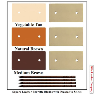 Square Leather Barrette Blanks -3 Colors
