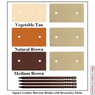 Square Leather Barrette Blanks - 3 Color MultiPack - OhioLeatherCompany.com