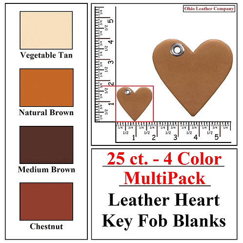 25 ct. - 4 Color - MultiPack - Leather Heart Key Fob Blank