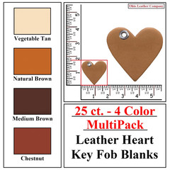 25 ct.- 4 Color MultiPack Leather Heart Shaped Key Fob Blank - OhioLeatherCompany