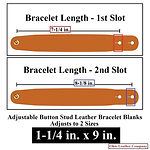 Adjustable Buttton Stud Leather Bracelets - 1-1/4 in. x 9 in. - Adjusts to 2 Sizes - Color Natural Brown - Ohio Leather Company
