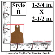 Leather Cow Tag Keychain - Leather Cattle Tag Keychain - Style B - OhioLeatherCompany.com