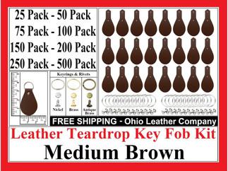 Leather Teardrop Key Fob Kit - Medium Brown - Ohio Leather Company.com