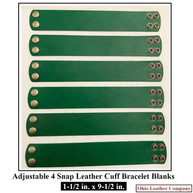 1-1/2 in. x 9-1/2 in. - Adjustable 4 Snap Leather Bracelet Blanks - Adjusts to 2 Sizes  - OhioLeatherCompany.com-1