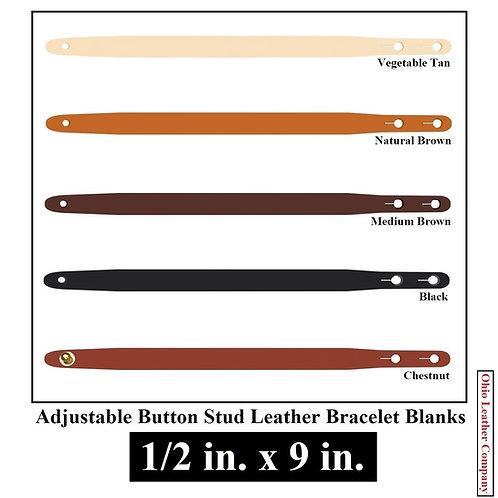 1/2 in. x 9 in. Adjustable Button Stud Leather Bracelet Blank