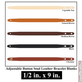 1/2 in. x 9 in. - Adjustable Buttton Stud Leather Bracelet Blanks - OhioLeatherCompany.com