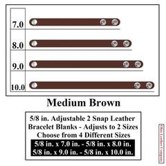 5/8 in. Adjustable 2 Snap Leather Bracelet Blanks - Adjusts to 2 Sizes - Medium Brown - OhioLeatherCompany.com