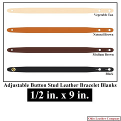 Adjustable Buttton Stud Leather Bracelet Blanks - 1/2 in. x 9 in. - OhioLeatherCompany.com -1