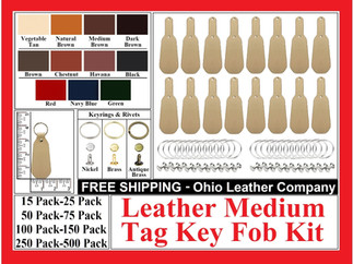 Key Fob Kits - Leather Medium Tag Key Fob Kit - Ohio Leather Company.com