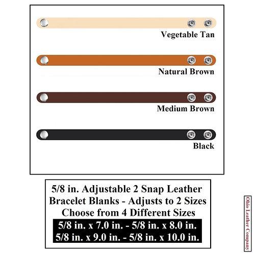 4 Color  - MultiPack-5/8 in. Adjustable Leather Bracelet Blank 2 Snaps