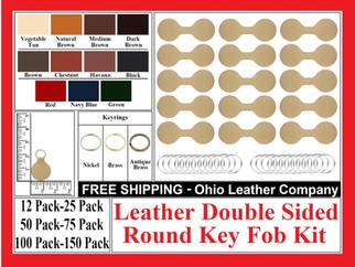 Leather Double Sided Round Key Fob Kit - Ohio Leather Company.com