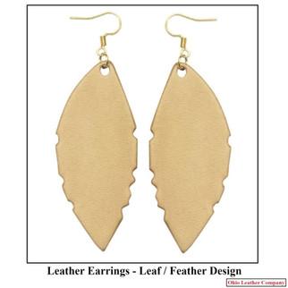 Leather Leaf Earring- Leather Feather Earrings - OhioLeatherCompany.com