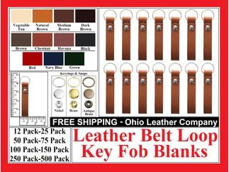 Leather Belt Loop Key Fob Blank - Leather Belt Loop Keychain - Ohio Leather Company.com