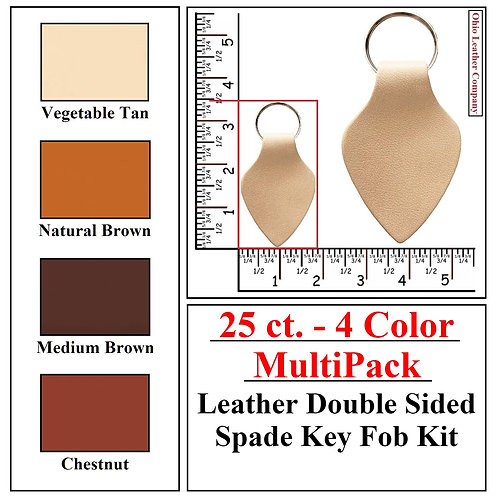 25 ct. - 4 Color - MultiPack - Leather Double Sided Spade Key Fob Kit