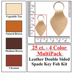 25 ct.- 4 Color MultiPack Leather Double Sided Spade Key Fob Kit - OhioLeatherCompany