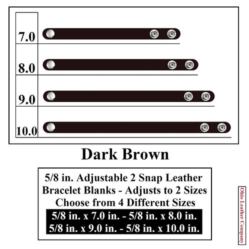 5/8 in. Adjustable Leather Bracelet Blank 2 Snaps DARK BROWN