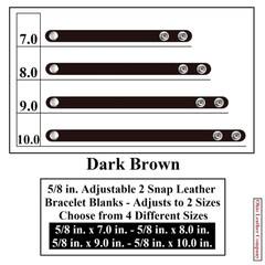 5/8 in. Adjustable 2 Snap Leather Bracelet Blanks - Adjusts to 2 Sizes - Dark Brown - OhioLeatherCompany.com