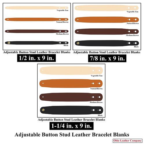 4 Color - MultiPack - Adjustable Button Stud Leather Bracelet Blank