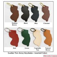 Leather New Jersey Keychains - OhioLeatherCompany.com