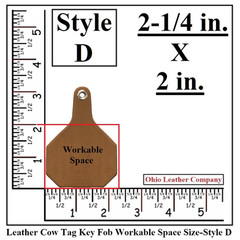 Leather Cow Tag Key Fob Blank Size - Leather Cattle Tag Key Fob Blank Size - Style D - OhioLeatherCompany.com