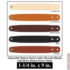 Adjustable Buttton Stud Leather BraceletAdjustable Buttton Stud Leather Bracelet Blanks - 1-1/4 in. x 9 in. - OhioLeatherCompany.com -3