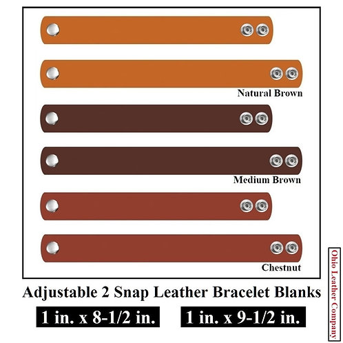 1 in. x 8-1/2 in. - 1 in. x 9-1/2 in. - Adjustable 2 Snap Leather Bracelet Blank