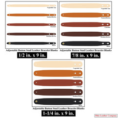 Adjustable Buttton Stud Leather Bracelet Blanks - 3 Sizes to choose from - Adjusts to 2 Sizes - OhioLeatherCompany.com -2