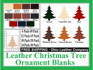 Leather Christmas Tree Ornament Blanks f
